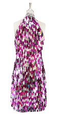 A short handmade sequin dress, in rectangular fuchsia and metallic silver paillette sequin dress back view