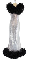 Long Silver Sequin Fabric Dress With Black Organza Ruffles At Neck And Hemline