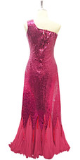 Long Red Sequin Fabric Dress With Ruffles And Jagged Beaded Hemline