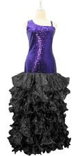 Long Royal  Blue Sequin Fabric Dress With Black Ruffles Hemline