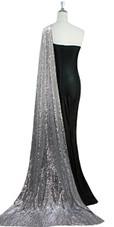 Long Black Velvet Dress With Silver Sequin Fabric Train