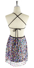 Short handmade sequin dress, in 8mm cupped mixed multicolored sequins with a straight, beaded hemline