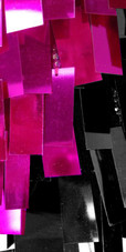 Short Handmade Rectangle Paillette Sequin Dress in Fuscia and Black with One-shoulder Cut Close up view