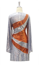 Short Sequin Fabric Dress In Silver And Copper With Sleeves
