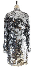 Short Handmade Silver Metallic Sequin Dress With Long Sleeves - Back View