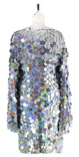 Short Handmade Silver Hologram Sequin Dress with Sleeves - Back View