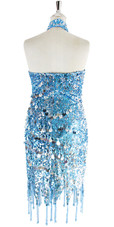 Short Dress In Turquoise Sequin Fabric With Hand Sewn Silver Sequin With Jagged Beaded Hemline - Back View