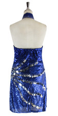 Short Dress In Dark Blue Sequin Fabric With Hand Sewn Silver Sequin - Back View
