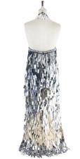 Long Handmade Sequin Dress, In Silver Metallic Sequins - Back View