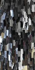 Long Handmade Sequin Dress, In Silver Metallic Sequins - Close View