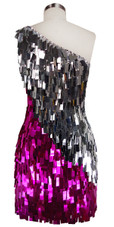 Short Handmade Rectangle Paillette Sequin Dress in Fuscia and Silver with One-shoulder Cut Baxck view