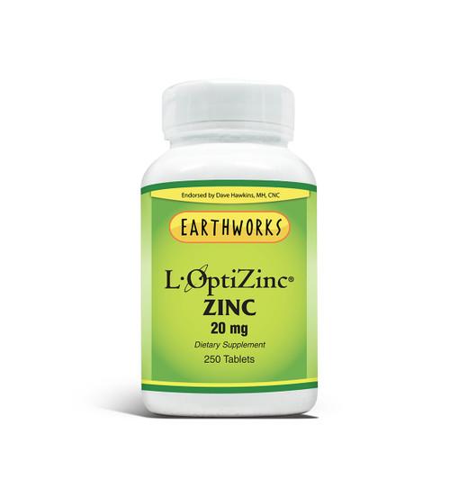 Dave Hawkins' EarthWorks PL Vitamin Zinc 20 MG 250 TABS (Limit 1 per Customer)
