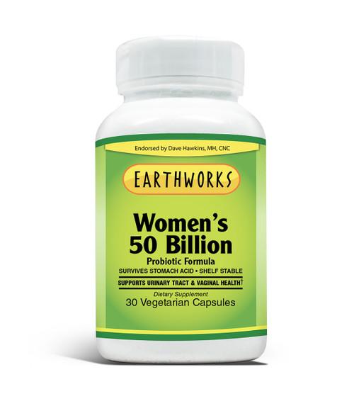 Women's 50 Billion Probiotic Formula 30 Vcaps by Dave Hawkins' EarthWorks