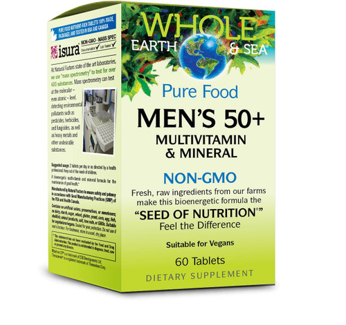 Natural Factors Whole Earth & Sea Men's 50+ Multiv 60 Tabs
