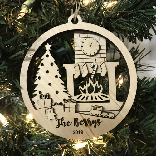 Personalized Layered Christmas by the Fireplace Ornament