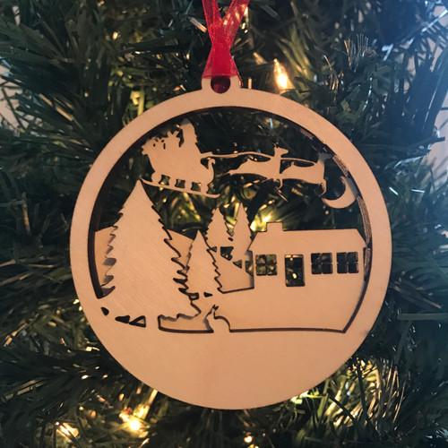 Layered Santa Flying through the Sky Ornament