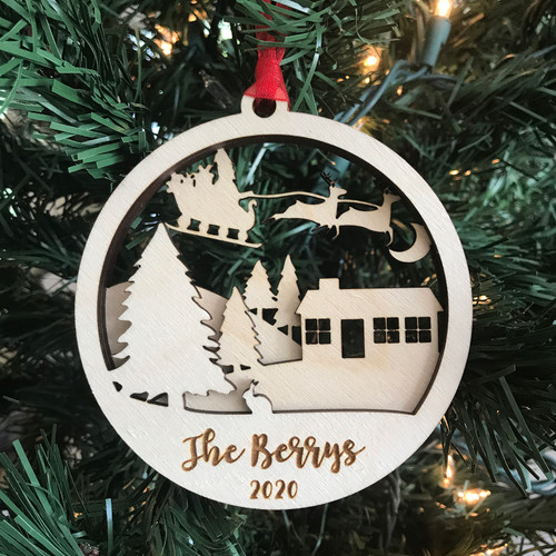 Personalized Layered Santa Flying Through the Sky Ornament