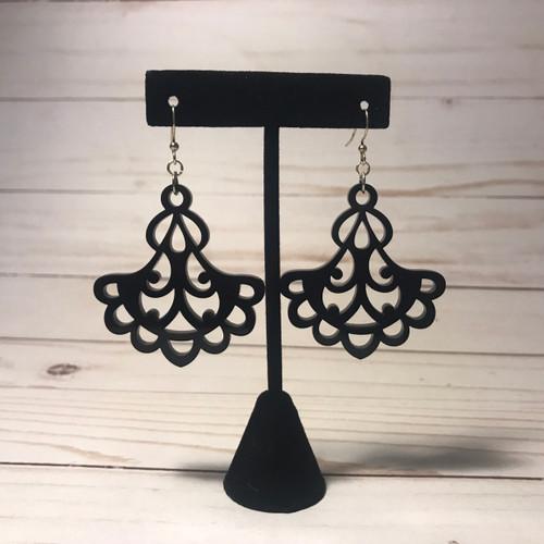 Fancy Black Acrylic Earrings