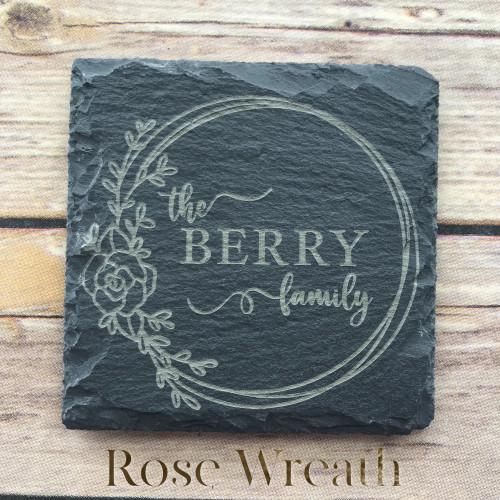 Rose Wreath Family Slate Coasters