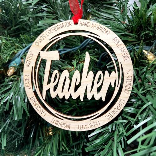 Round Teacher Ornament