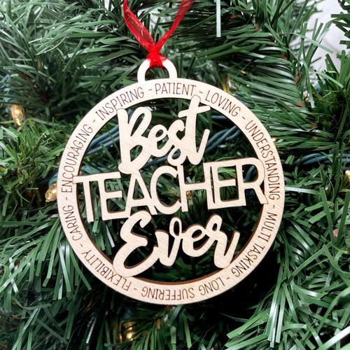 Round Best Teacher Ever Ornament