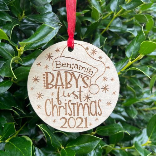 Personalized Baby's First Christmas Hat Ornament