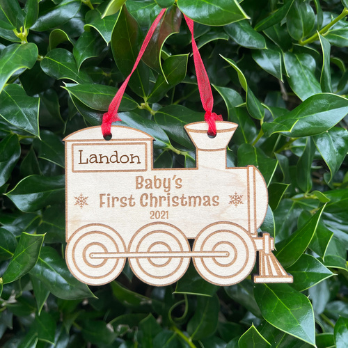 Personalized Baby's First Christmas Train Ornament