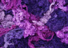 Throwsters waste silk fiber texture for feltmakers.  This dyed color is Lavish.