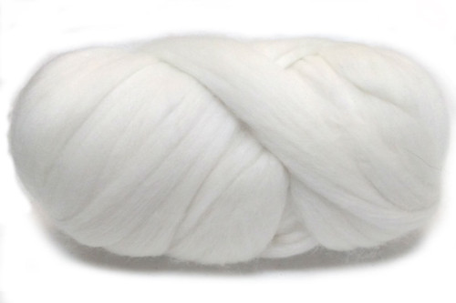 Snowy River--Natural, undyed off-white.  18.5 micron Merino Wool Tops.