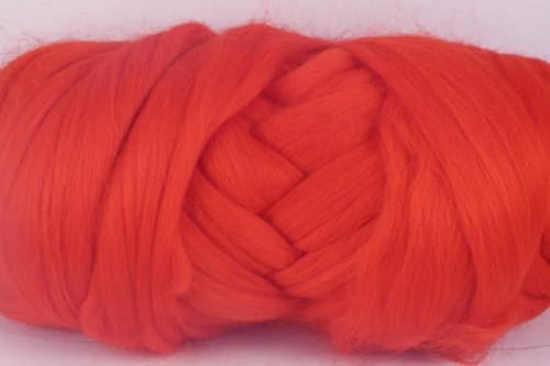 Bottlebrush --Hot tropical parrot shade of red.  18.5 micron Merino Wool Tops.