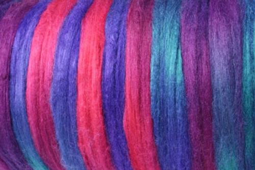Tussah silk tops for feltmakers. This dyed color harmony is Birds of Paradise