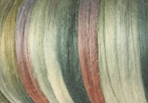 Tussah silk tops for feltmakers. This dyed color harmony is Desert Sage