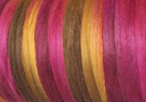 Tussah silk tops for feltmakers. This dyed color harmony is Jacquard