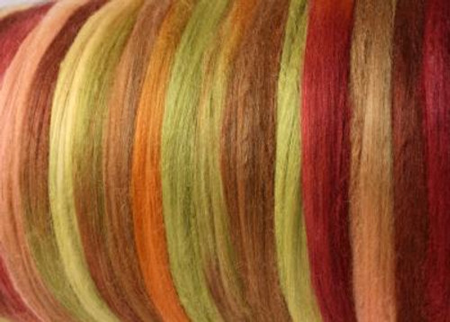 Tussah silk tops for feltmakers. This dyed color harmony is Outback