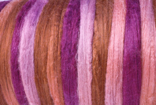 Tussah silk tops for feltmakers. This dyed color harmony is Patchouli