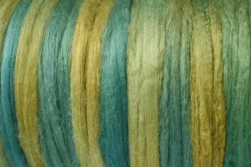 Tussah silk tops for feltmakers. This dyed color harmony is Peruvian Patina