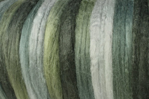 Tussah silk tops for feltmakers. This dyed color harmony is Silver Princess