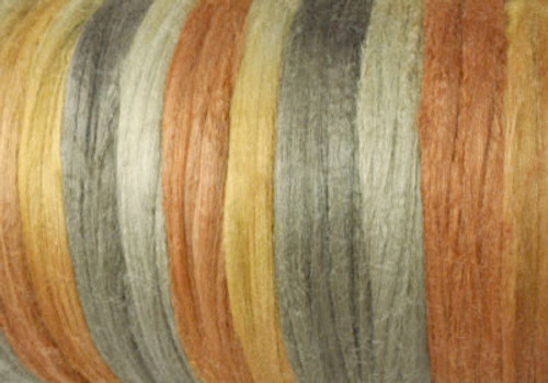 Tussah silk tops for feltmakers. This dyed color harmony is Spinifex