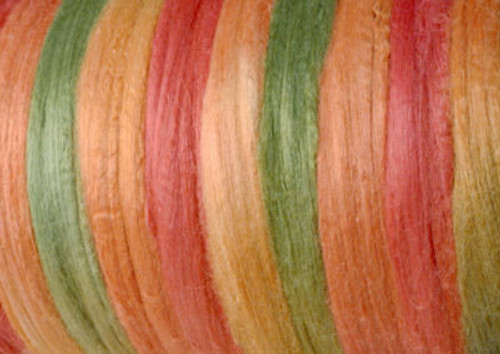 Tussah silk tops for feltmakers. This dyed color harmony is Summer Melon