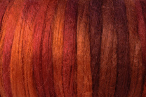 Tussah silk tops for feltmakers. This dyed color harmony is Terra Rosa