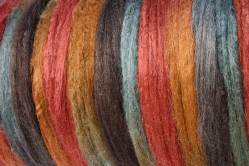 Tussah silk tops for feltmakers. This dyed color harmony is Tribal