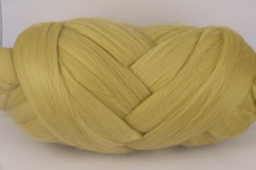 Citronella--Pastel yellow with green undertones.  18.5 micron Merino Wool Tops.