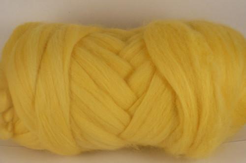 Cockatoo--Soft daffodil yellow.  18.5 micron Merino Wool Tops.