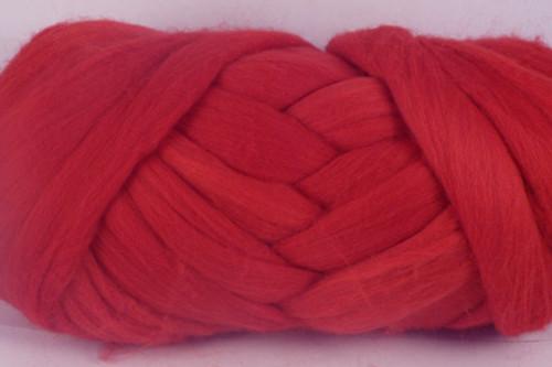"Crimson Rosella--Bright primary ""Crayola"" red.  18.5 micron Merino Wool Tops."
