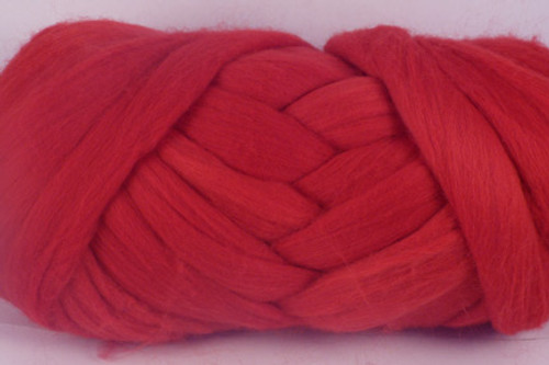 "Crimson Rosella--Bright primary ""Crayola"" red.  18.5 micron Merino Wool Tops."