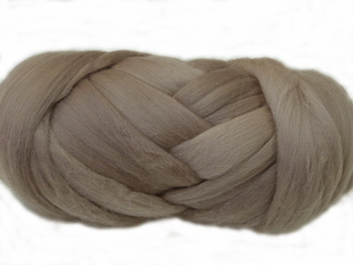 Mushroom--Soft silvery taupe.  18.5 micron Merino Wool Tops.