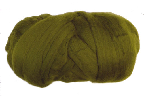 Moss--Great mossy green - not brown enough to be described as olive.  18.5 micron Merino Wool Tops.