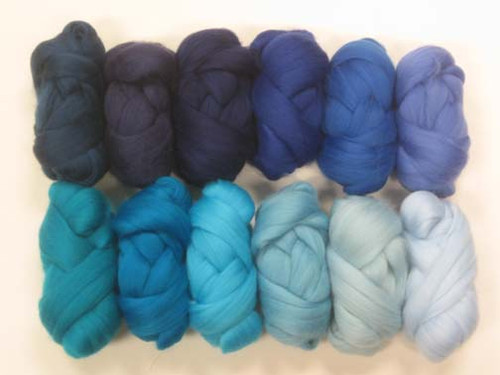 Merino wool Mixed Bag in Blue Tones.
