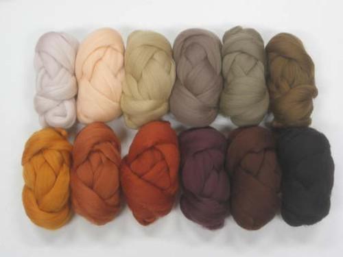 Merino wool Mixed Bag in Brown Tones.