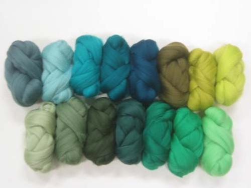 Merino wool Mixed Bag in Green Tones.